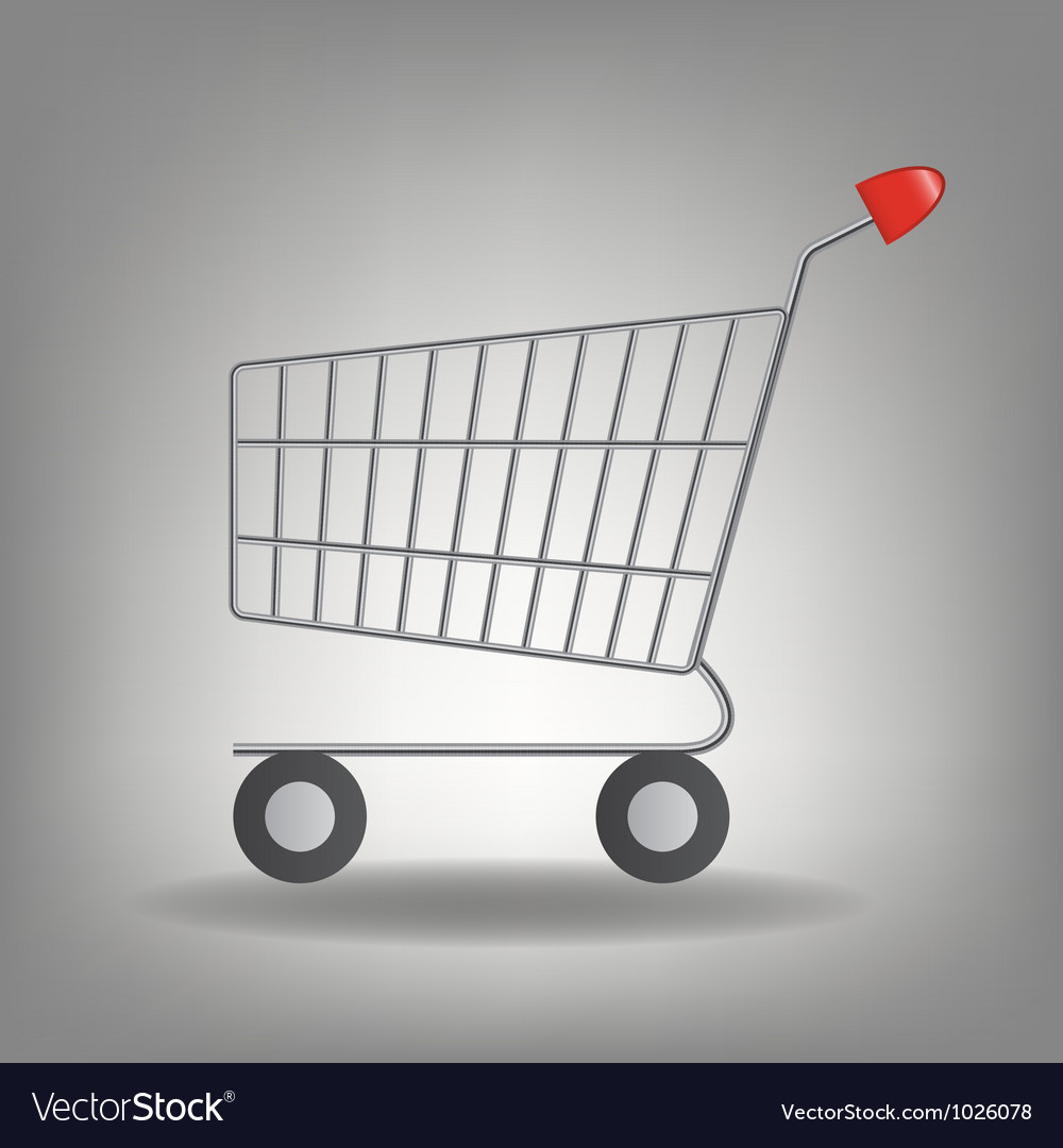 Empty supermarket shopping cart icon iso vector | Price: 1 Credit (USD $1)