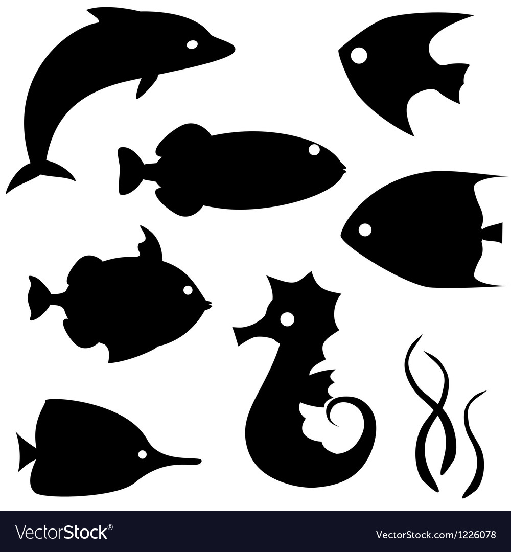 Fish silhouettes set 2 vector | Price: 1 Credit (USD $1)