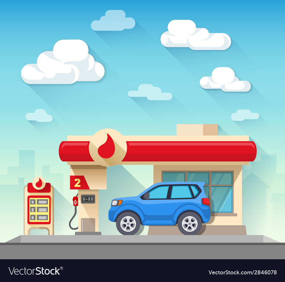Gas station flat style vector | Price: 3 Credit (USD $3)