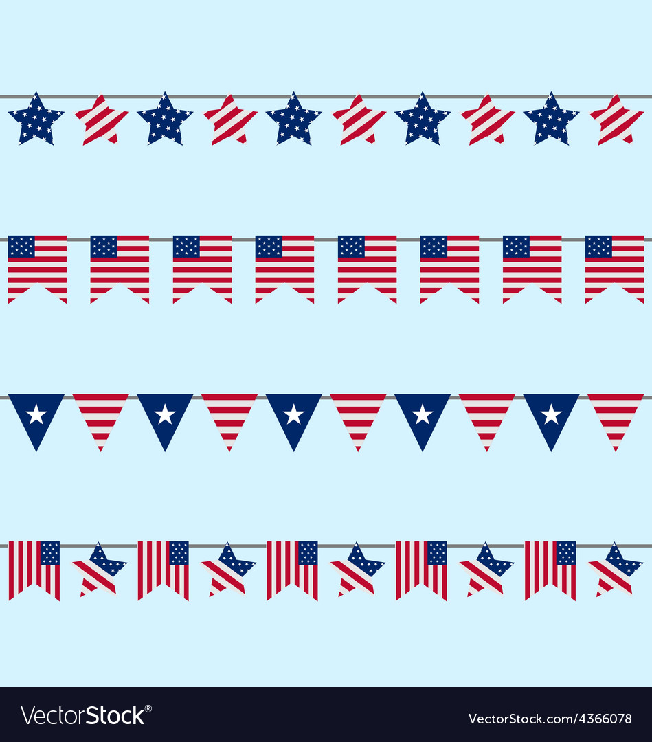 Hanging bunting pennants for independence day usa vector | Price: 1 Credit (USD $1)