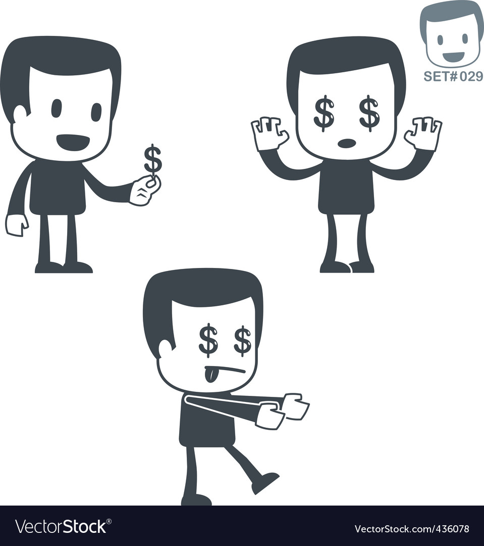 Money icon man set vector | Price: 1 Credit (USD $1)