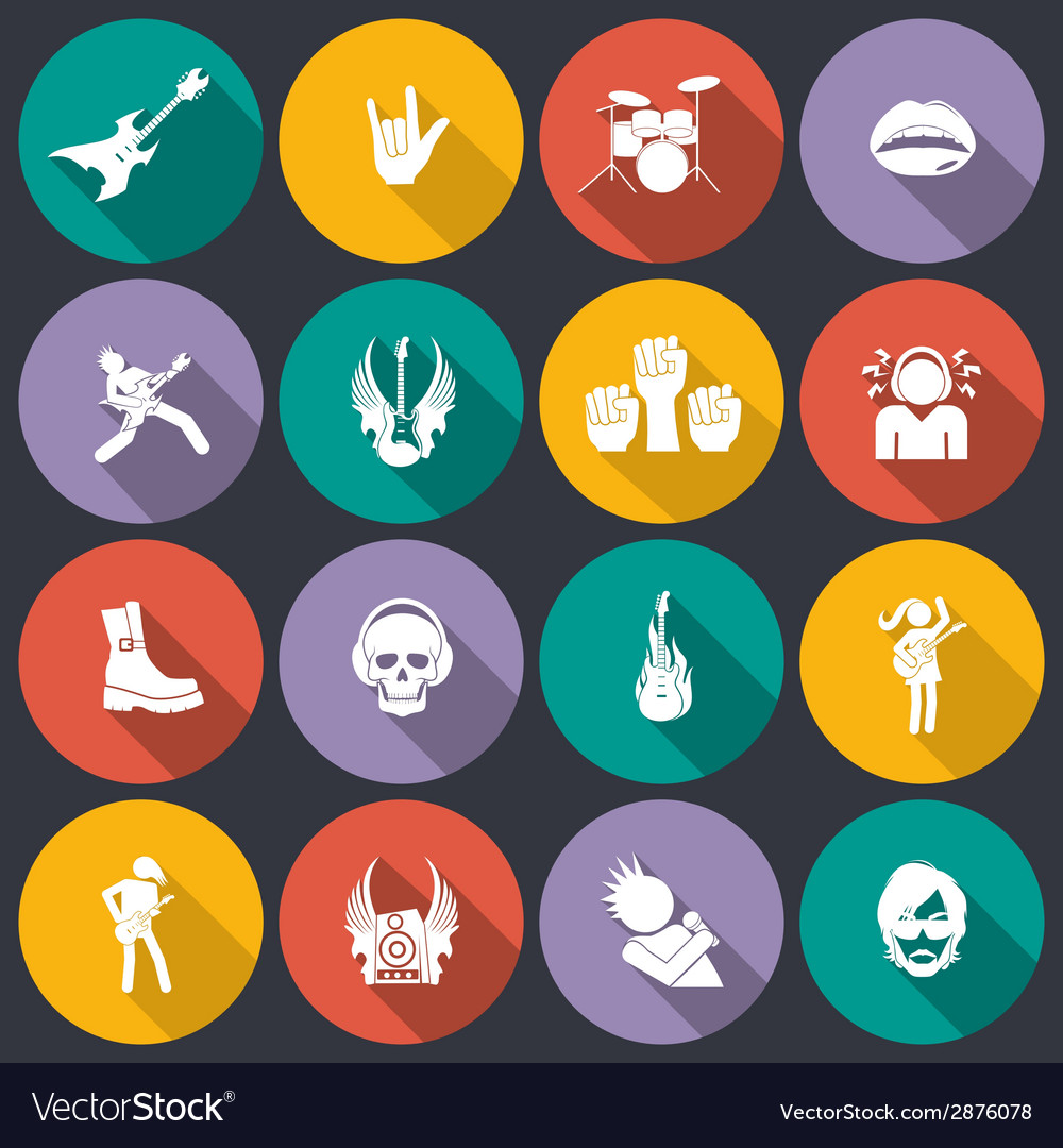Rock music icons flat vector | Price: 1 Credit (USD $1)
