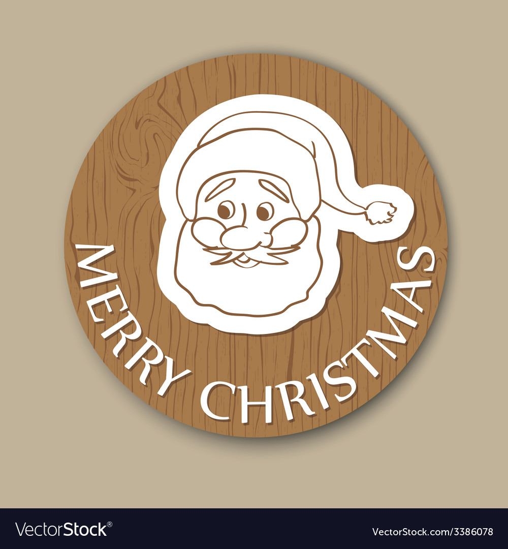 Round woody christmas greeting with santa face vector | Price: 1 Credit (USD $1)