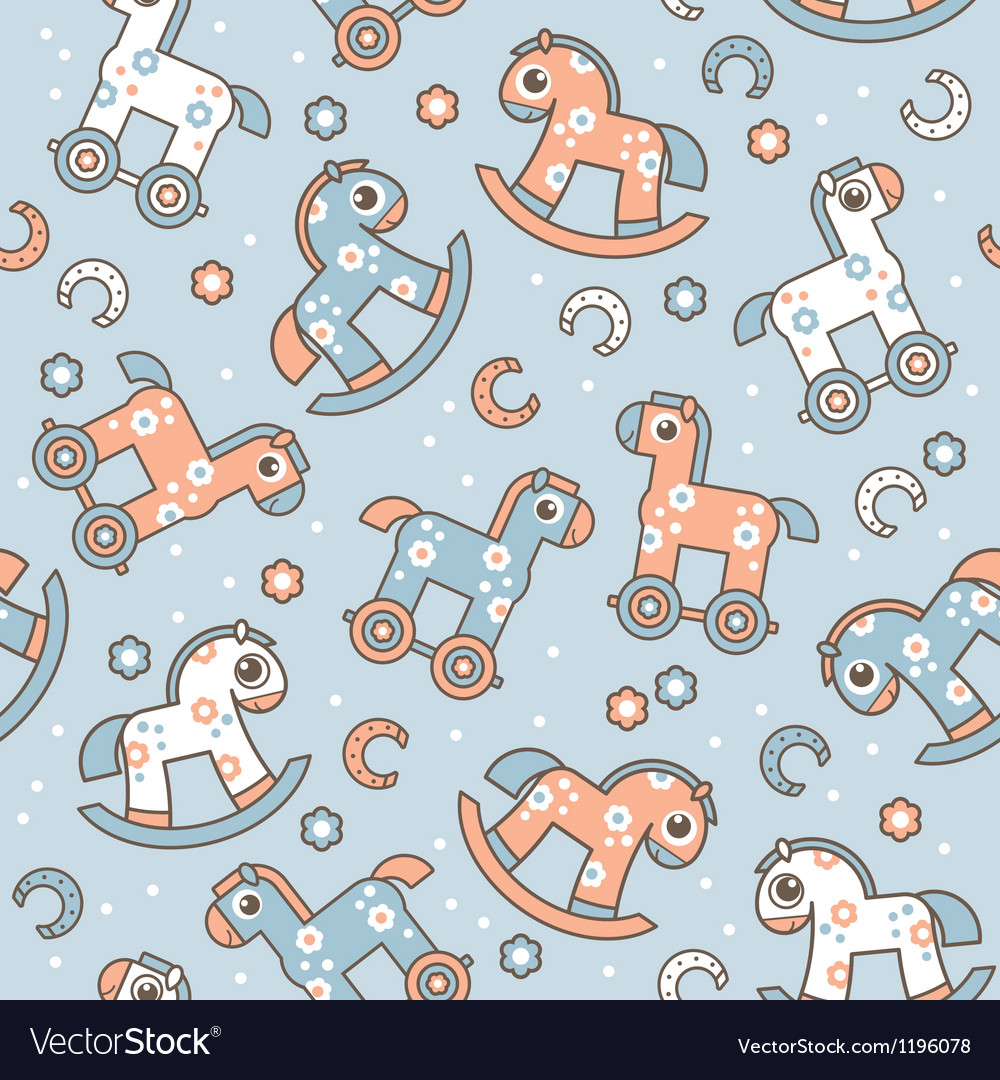Seamless pattern with cute horses vector | Price: 1 Credit (USD $1)