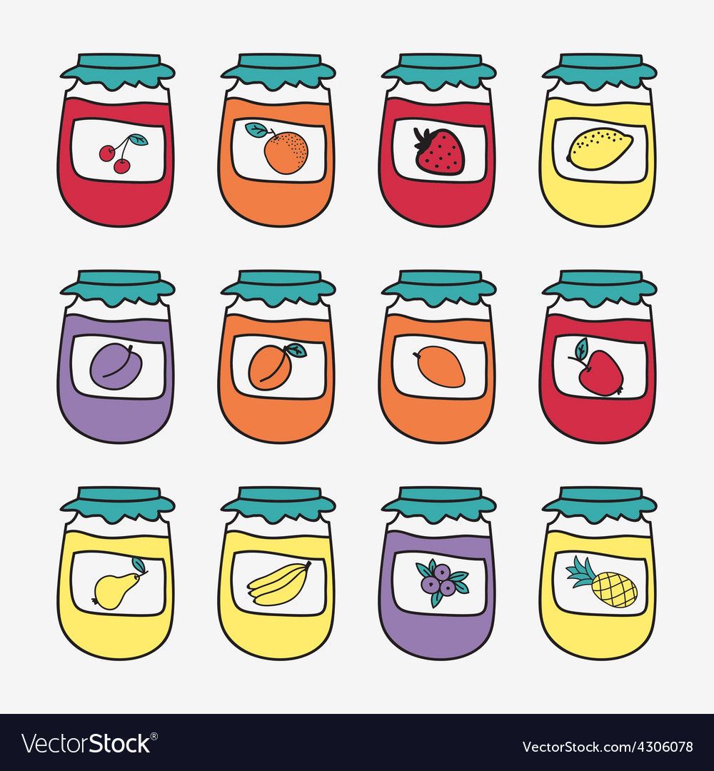 Set of doodle jars with jam hand-drawn vector   Price: 1 Credit (USD $1)