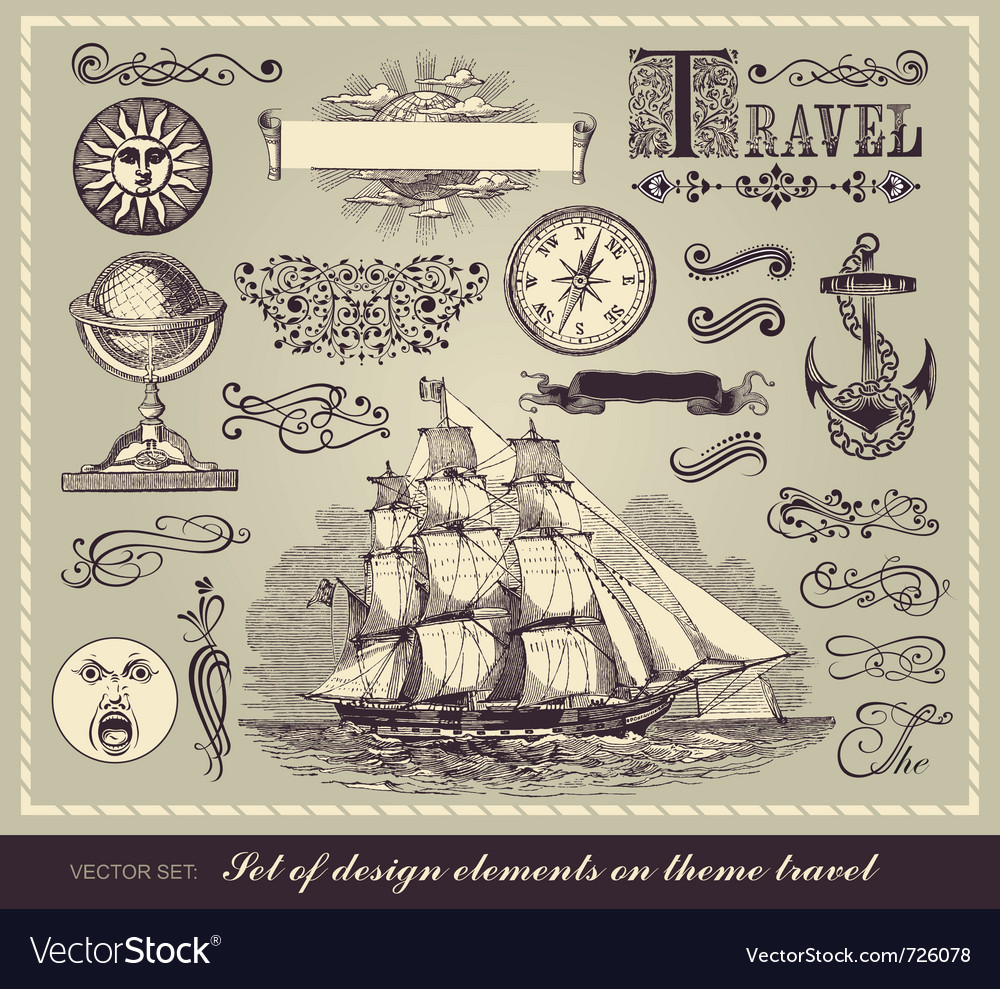 Set of travel symbols vector | Price: 1 Credit (USD $1)