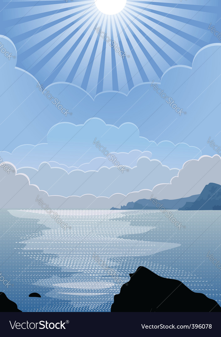 Sunny day at sea vector | Price: 1 Credit (USD $1)