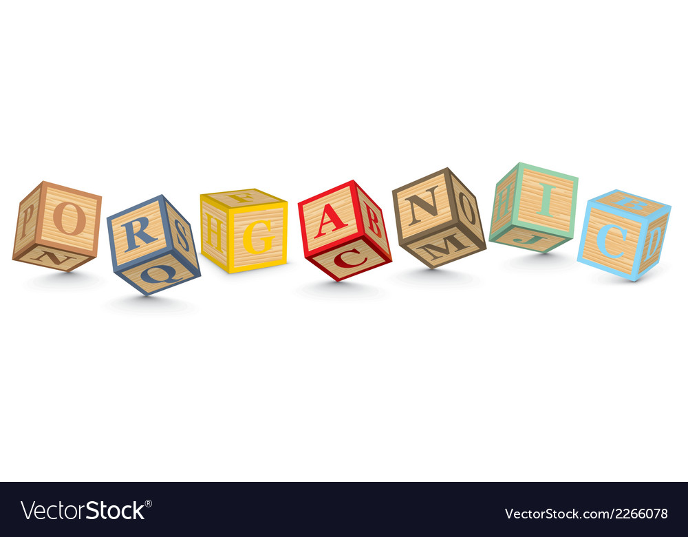 Word organic written with alphabet blocks vector | Price: 1 Credit (USD $1)