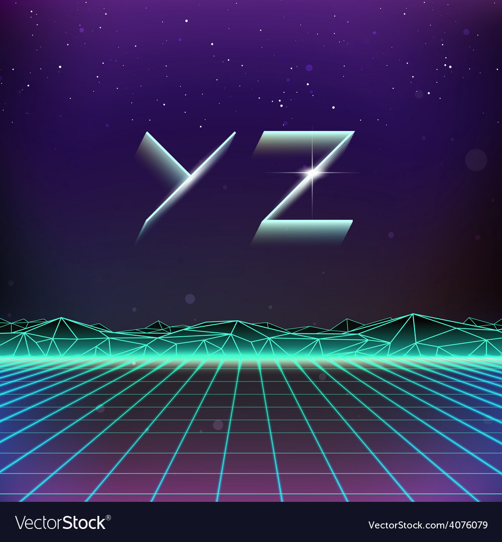 80s retro futurism geometric font from y to z vector | Price: 1 Credit (USD $1)