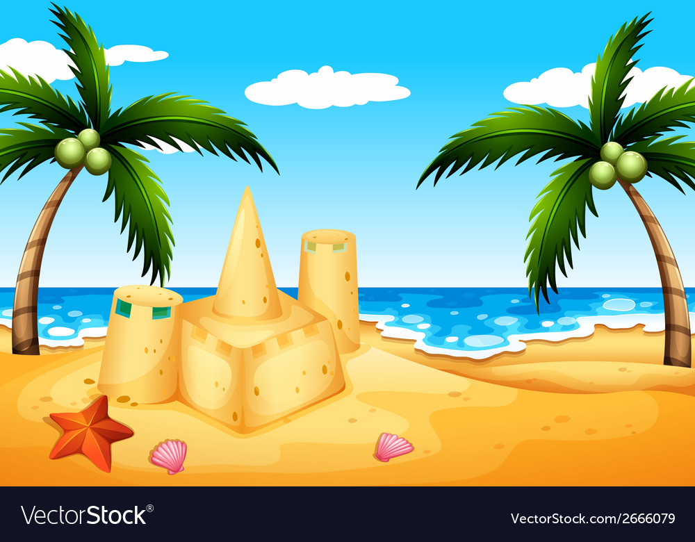 A beach with coconut trees and a sand castle vector | Price: 1 Credit (USD $1)