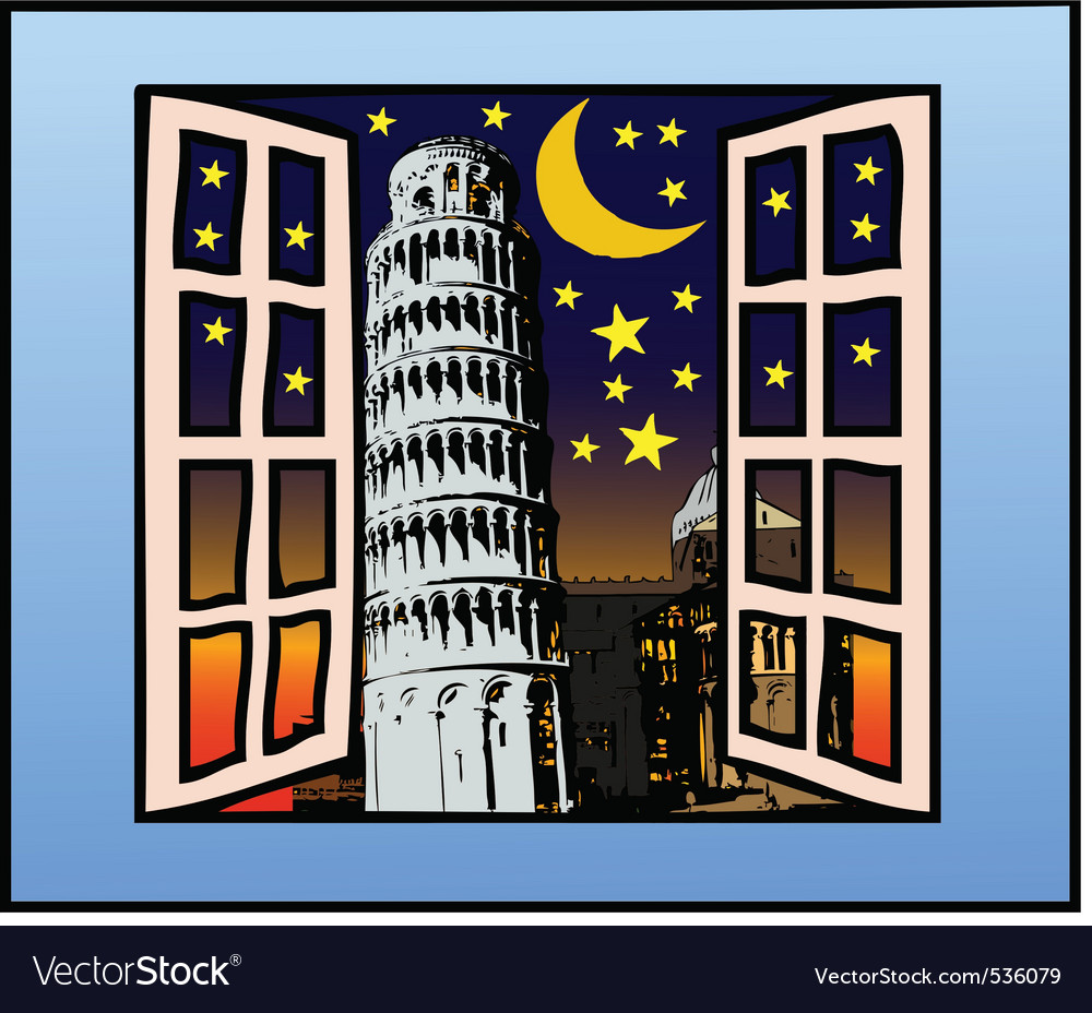 A window on the tower of pisa vector | Price: 1 Credit (USD $1)