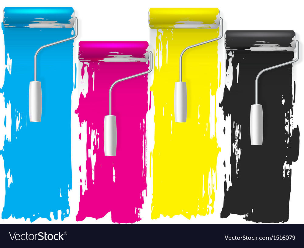 Cmyk concept of a paint roller background vector | Price: 1 Credit (USD $1)