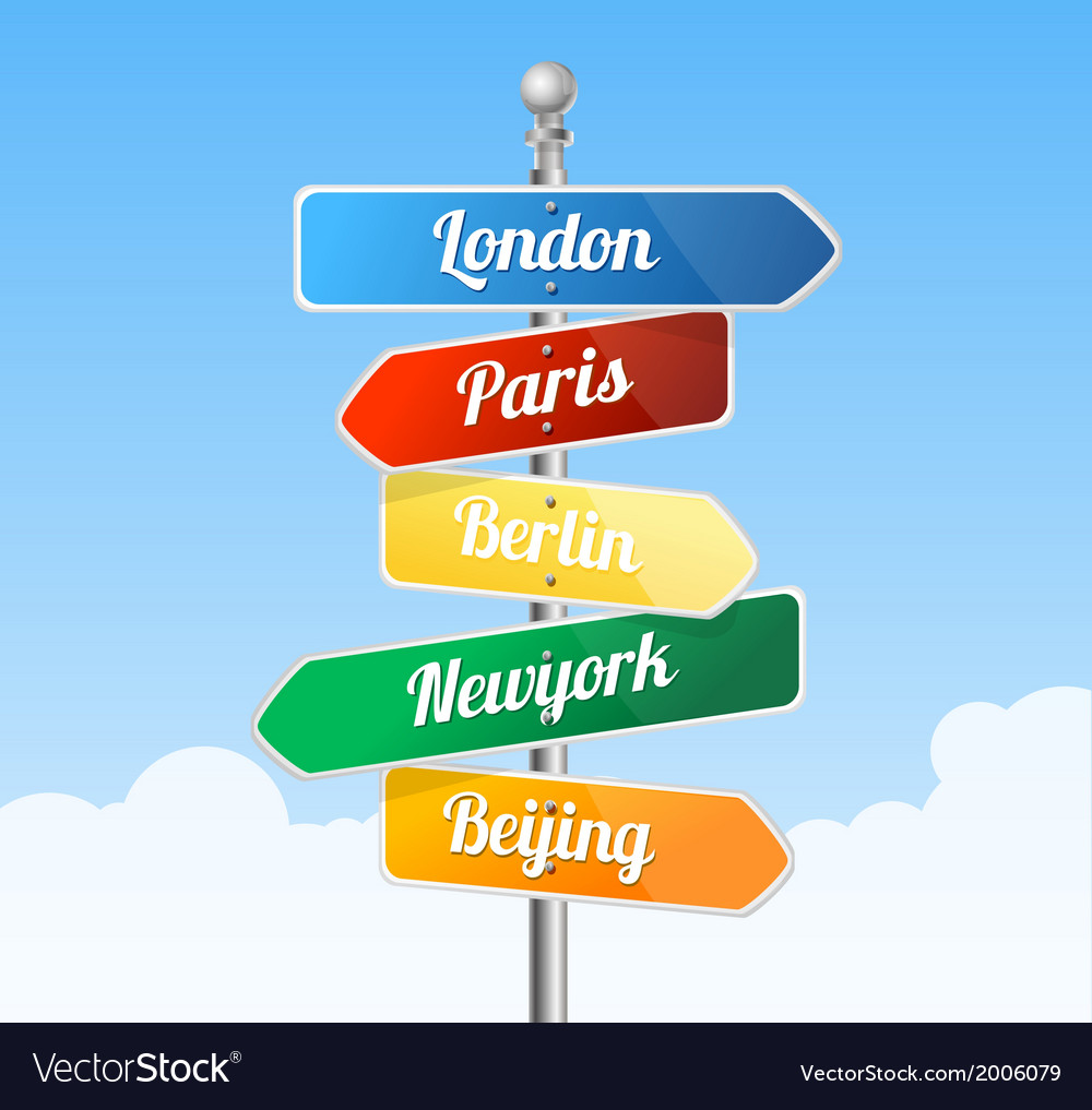 Direction road signs europe vector | Price: 1 Credit (USD $1)