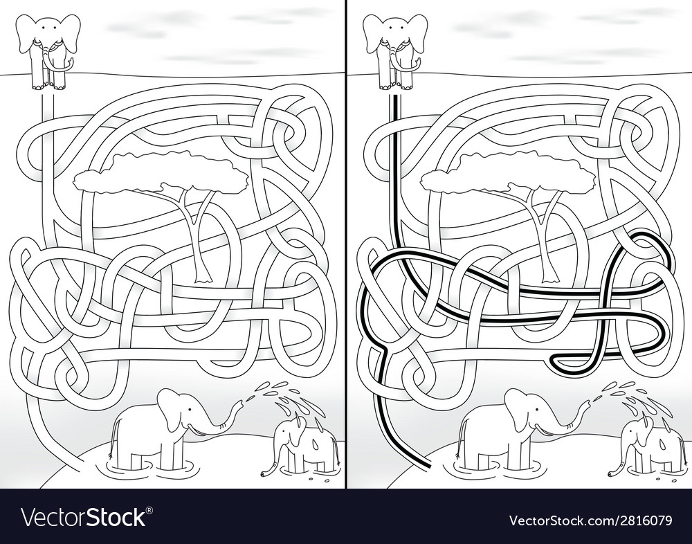 Elephant maze vector | Price: 1 Credit (USD $1)