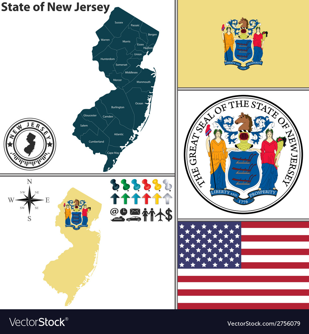 Map of new jersey with seal vector | Price: 1 Credit (USD $1)