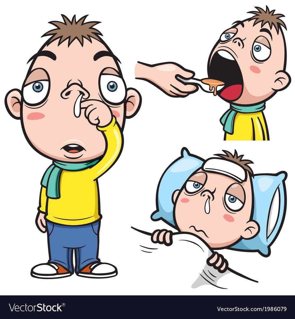 Sick boy cartoon vector | Price: 1 Credit (USD $1)