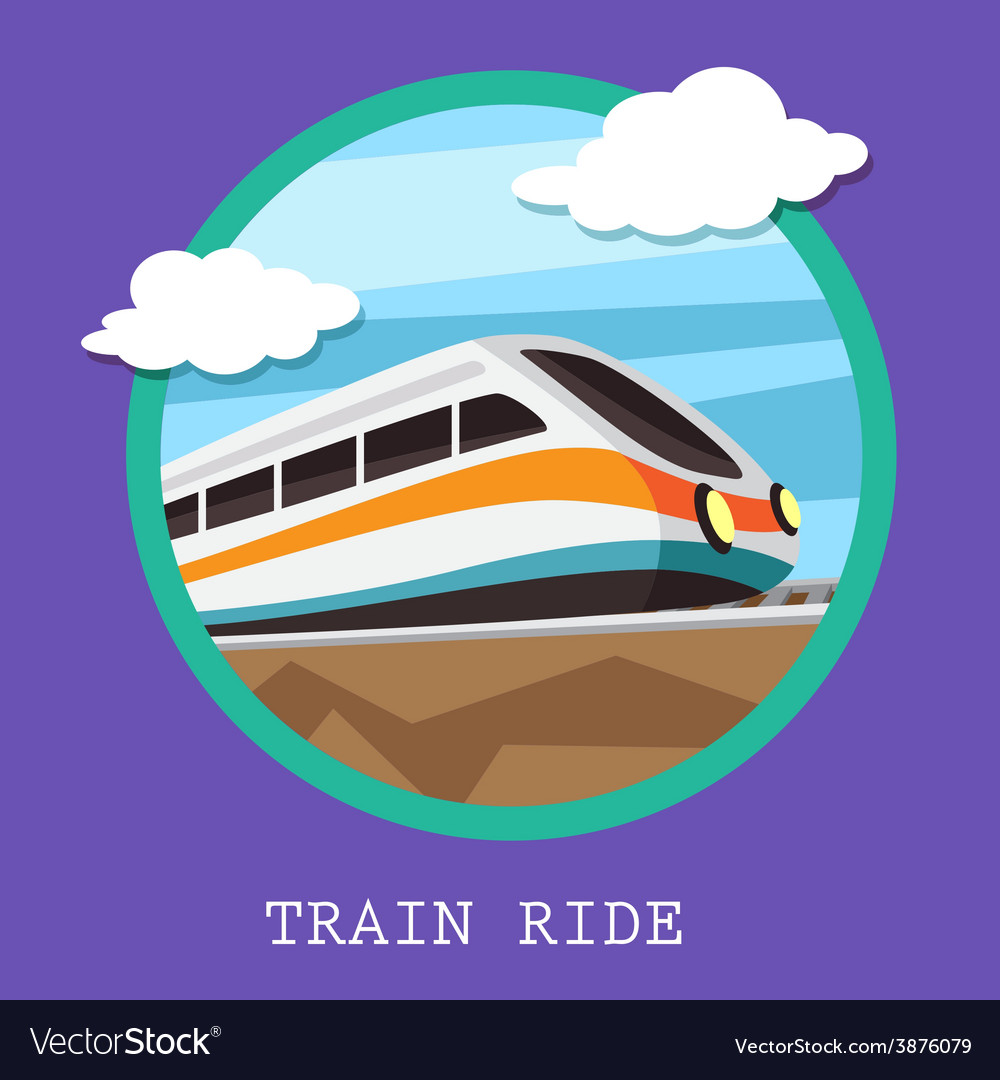 Train railway emblem flat design vector | Price: 1 Credit (USD $1)