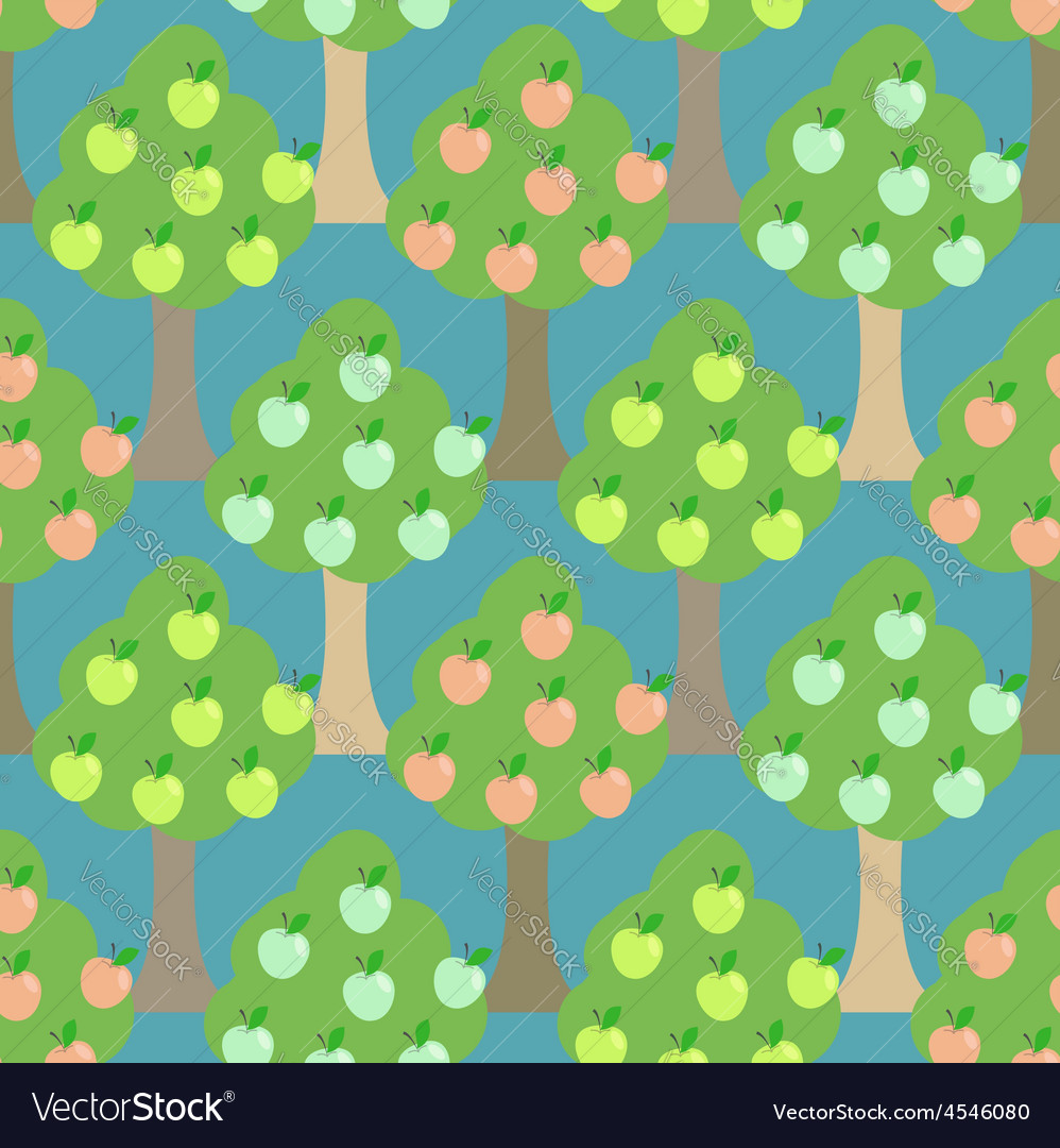 Apple tree seamless pattern orchard background vector | Price: 1 Credit (USD $1)