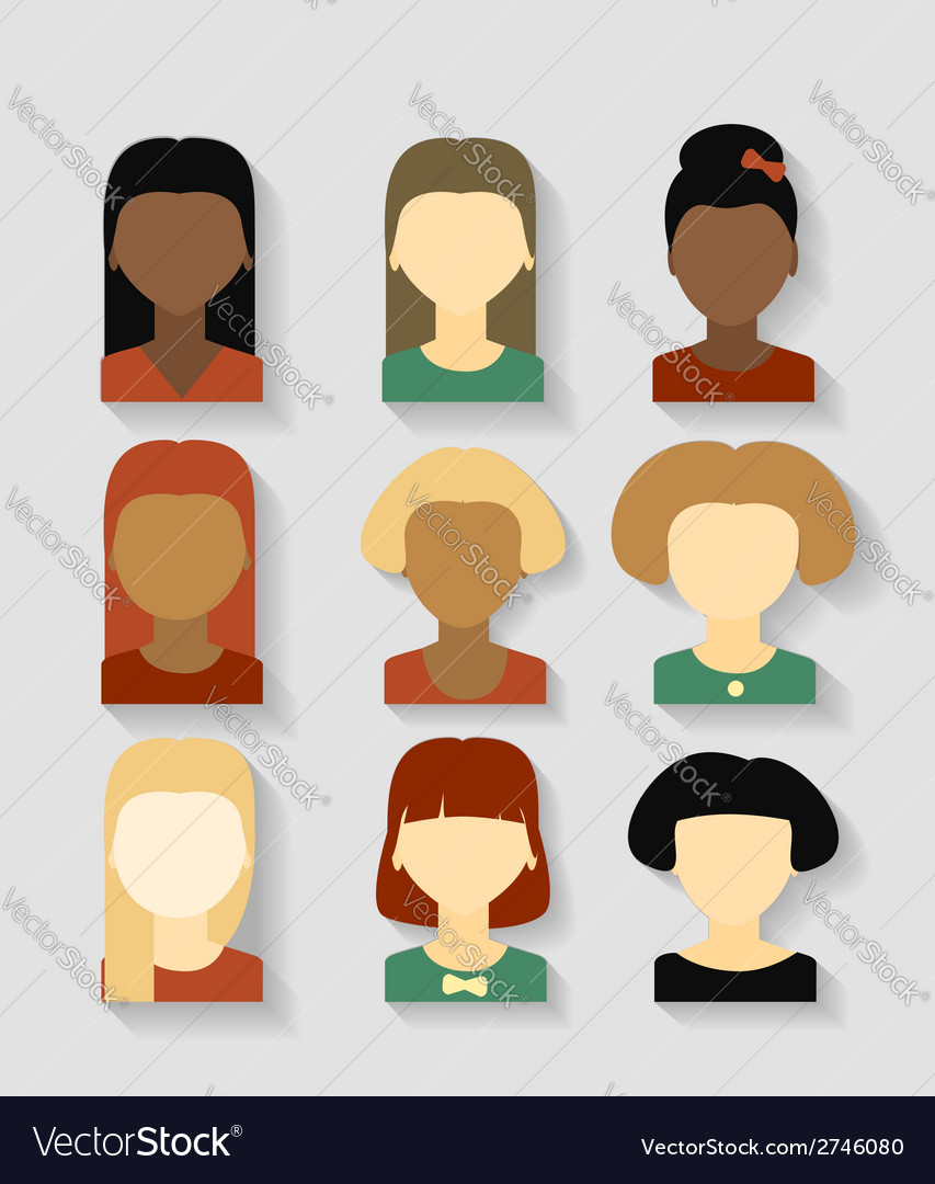Beautiful young girls with various hair style vector | Price: 1 Credit (USD $1)