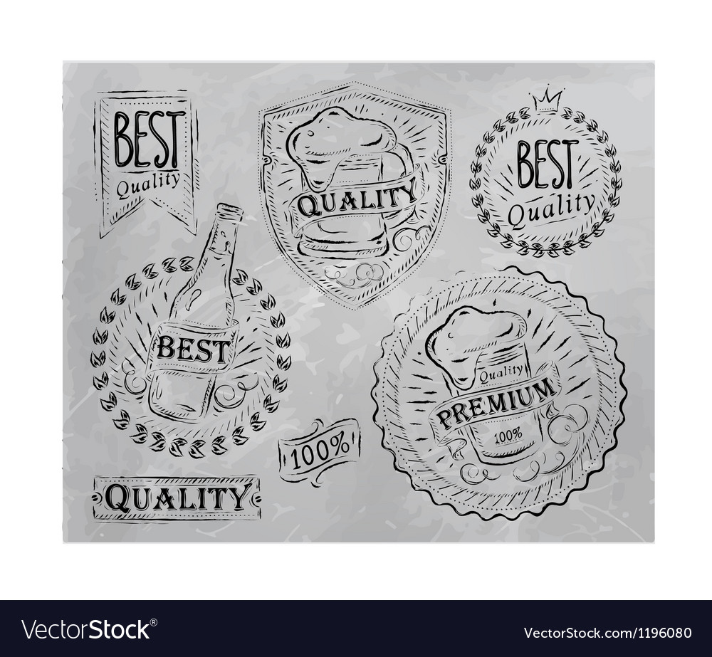 Beer quality elements gray vector | Price: 1 Credit (USD $1)