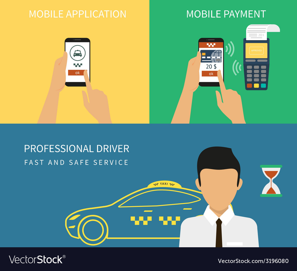 Booking taxi vector | Price: 1 Credit (USD $1)
