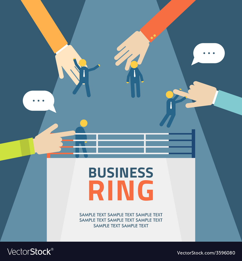 Concept business people fight on ring agreement vector | Price: 1 Credit (USD $1)