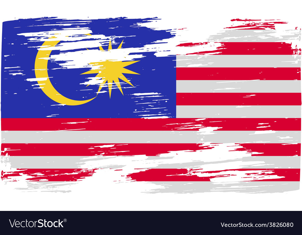 Flag of malaysia with old texture vector | Price: 1 Credit (USD $1)