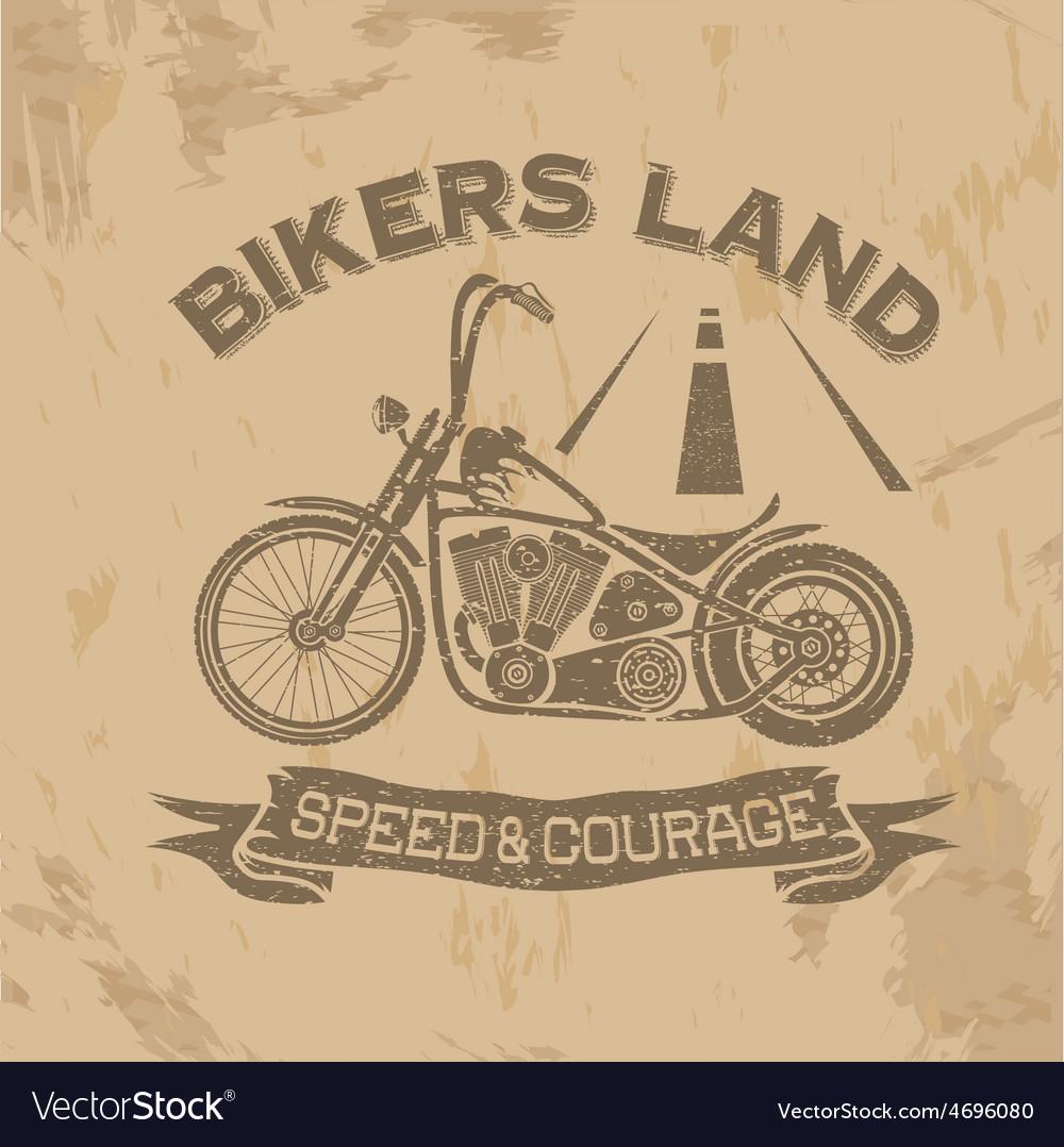 Grunge vintage poster bikers land with motorbike vector | Price: 1 Credit (USD $1)