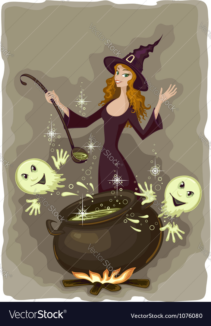 Halloween witch cooking vector | Price: 3 Credit (USD $3)