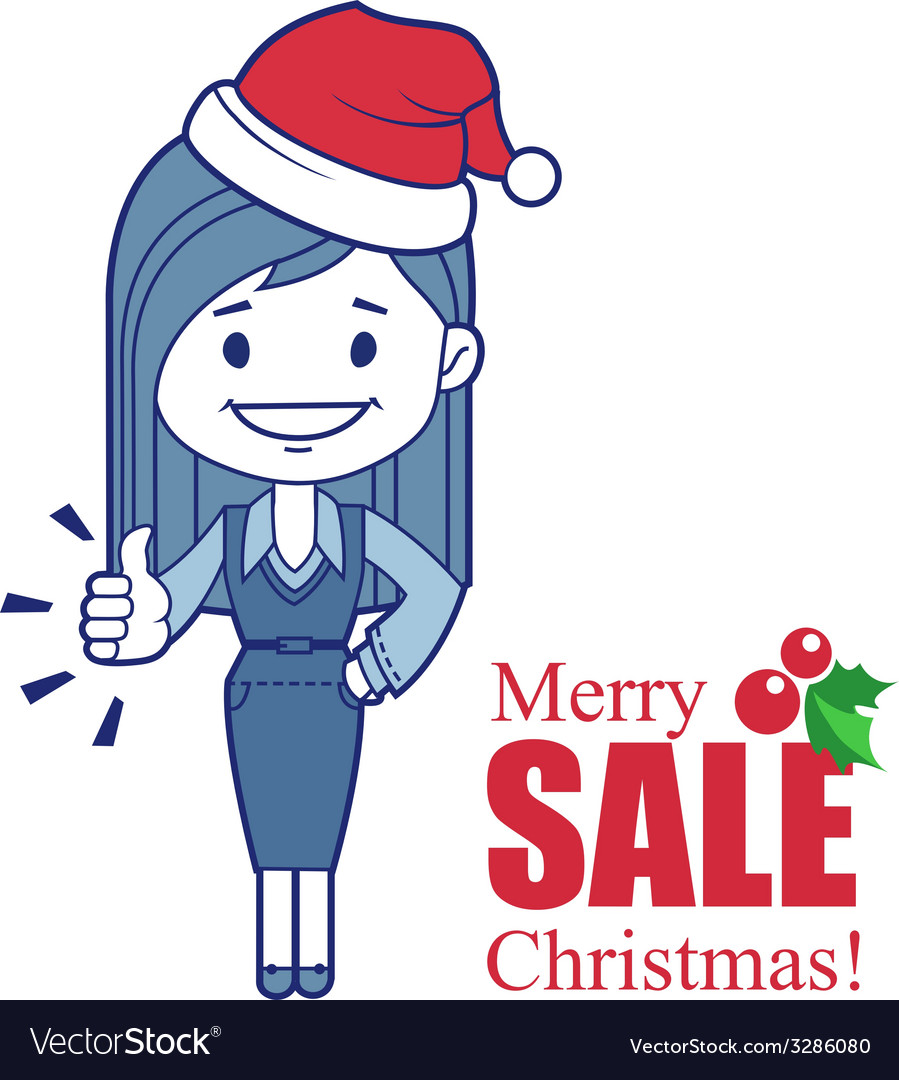 Holiday banner with christmas character girl vector | Price: 1 Credit (USD $1)