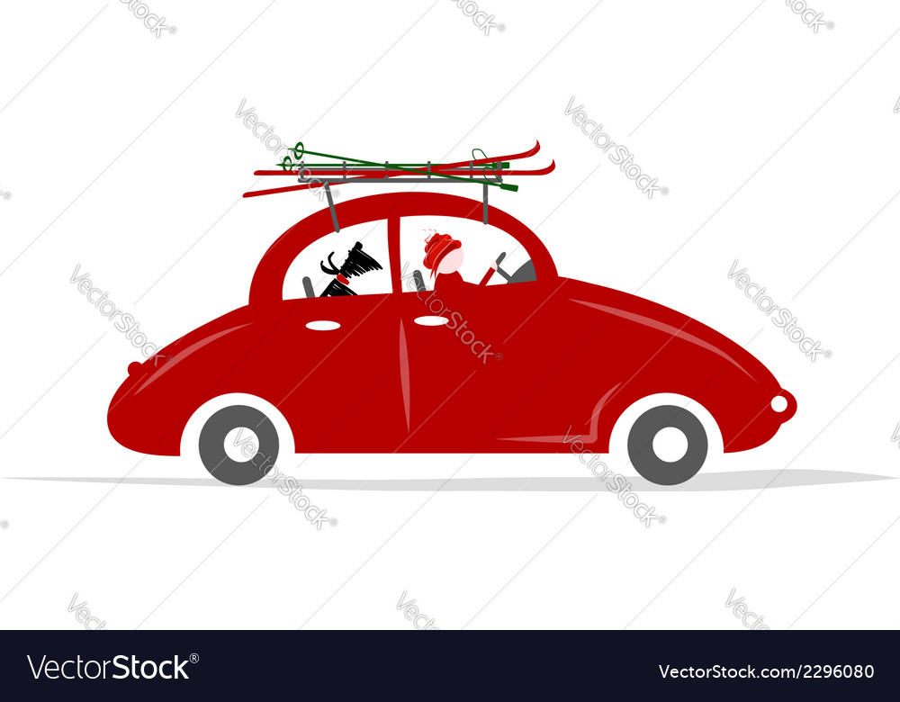 Man and dog in red car with skis on the roof rack vector | Price: 1 Credit (USD $1)