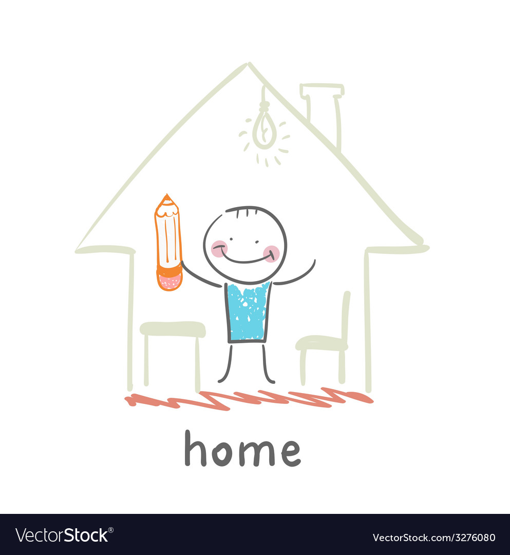 Person in the house vector | Price: 1 Credit (USD $1)