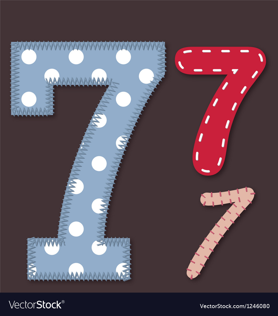 Set of stitched font -7 seven vector | Price: 1 Credit (USD $1)