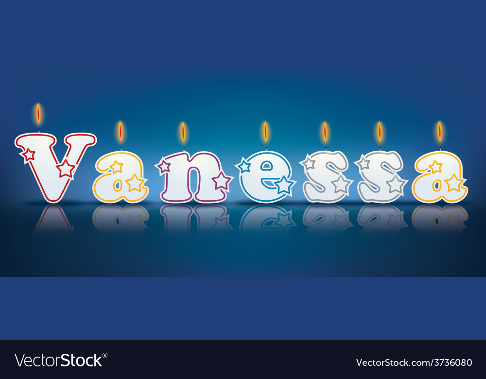 Vanessa written with burning candles vector | Price: 1 Credit (USD $1)