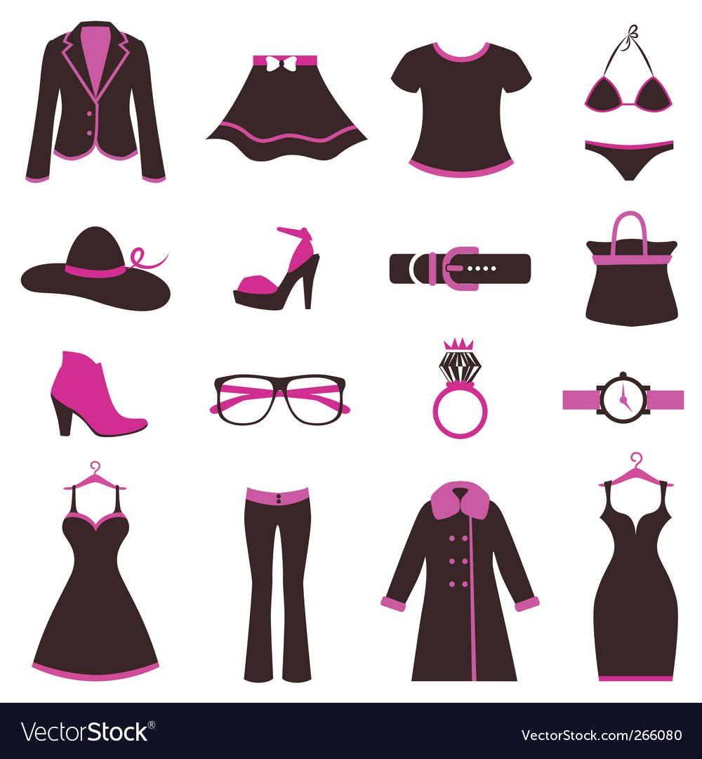 Women fashion icons vector | Price: 1 Credit (USD $1)