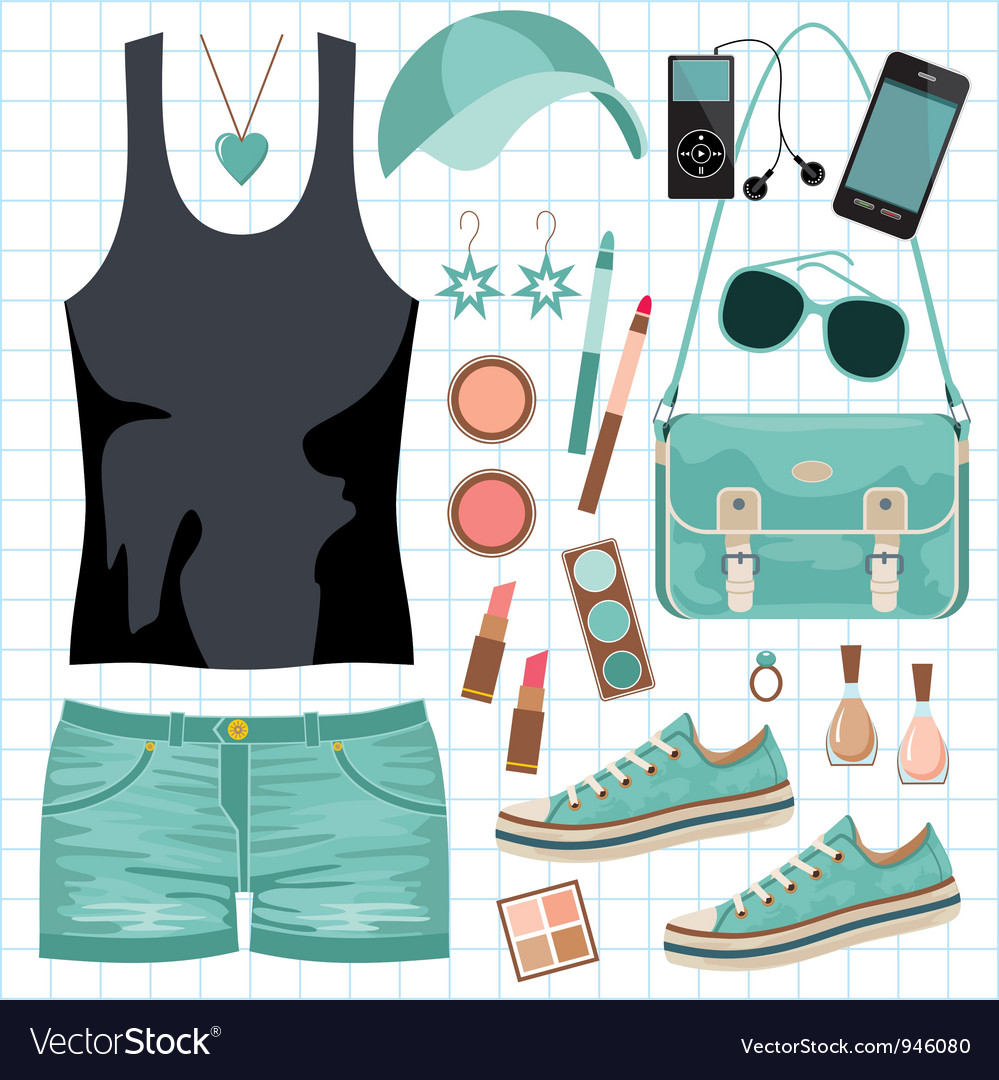 Youth fashionable set vector | Price: 1 Credit (USD $1)