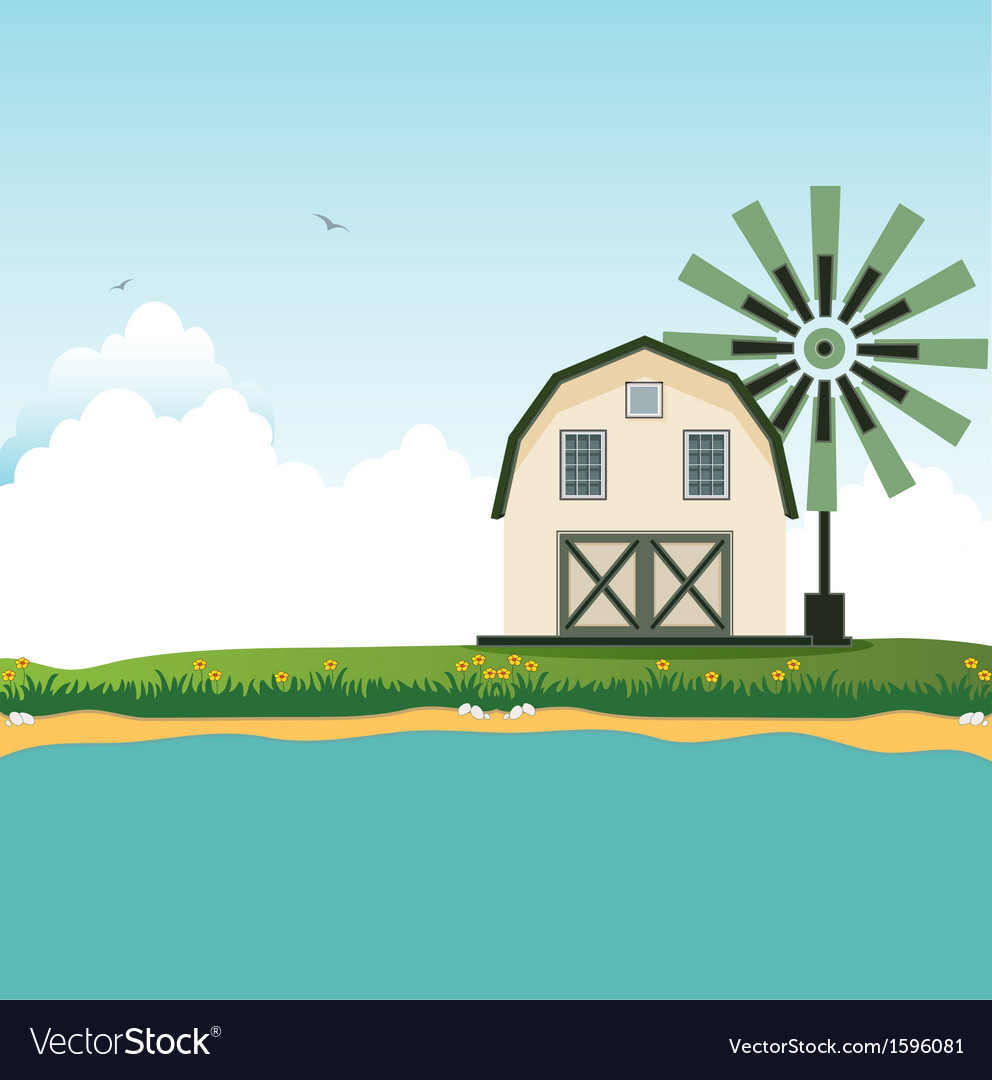 Barn near border crossings vector | Price: 1 Credit (USD $1)