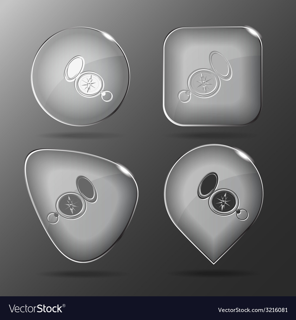 Compass glass buttons vector | Price: 1 Credit (USD $1)