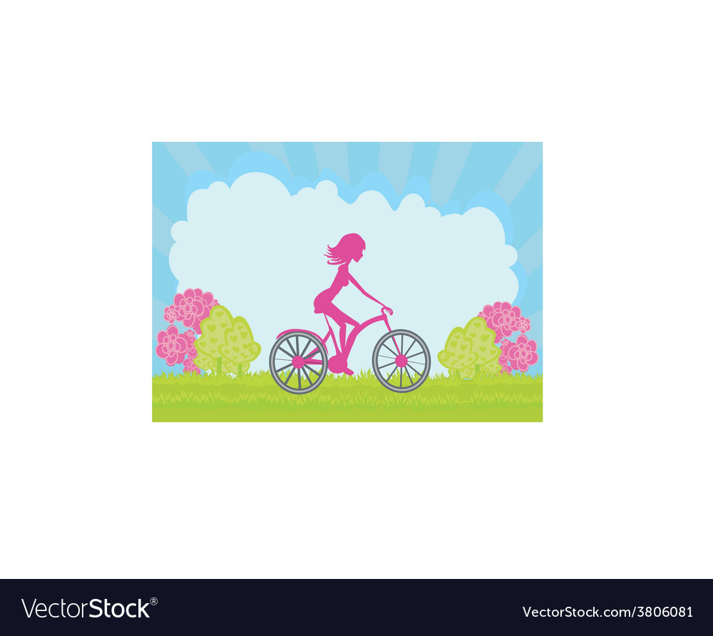 Cycling poster with silhouette girl vector | Price: 1 Credit (USD $1)