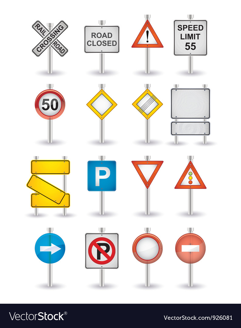 Danger road signs set vector | Price: 1 Credit (USD $1)