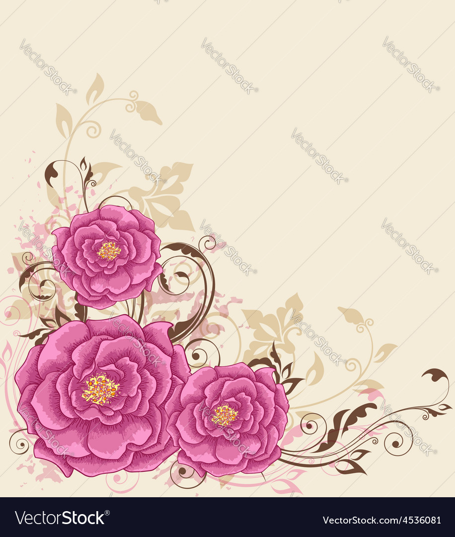 Decorative background with pink roses vector | Price: 1 Credit (USD $1)