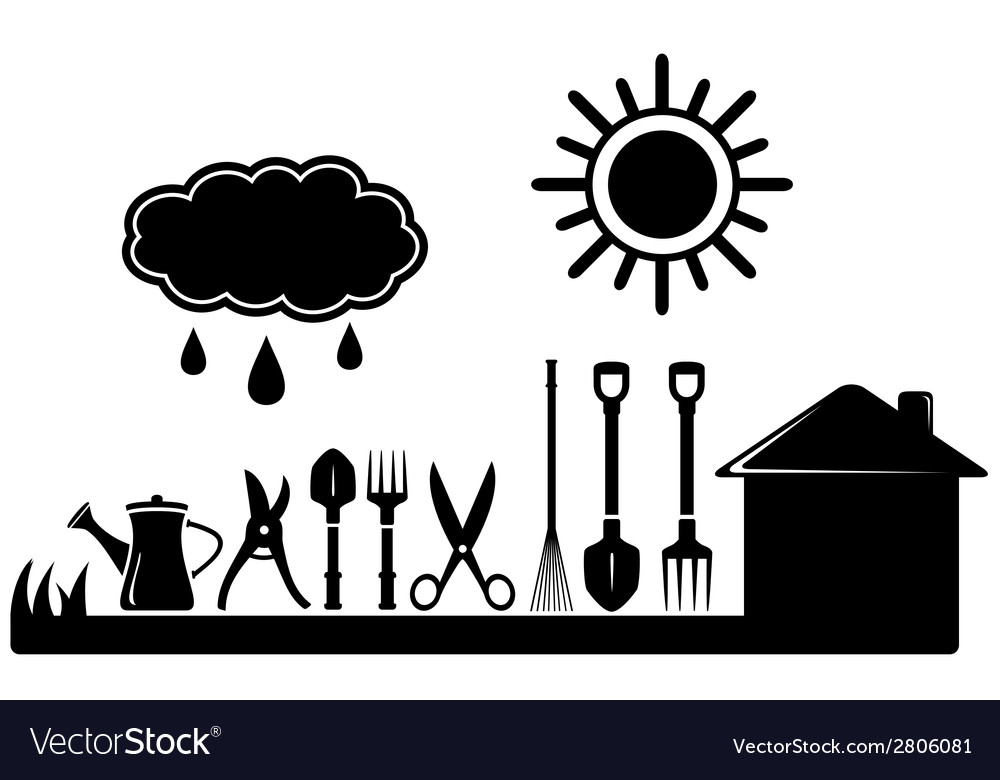 Gardening tools set on farm landscaping vector | Price: 1 Credit (USD $1)