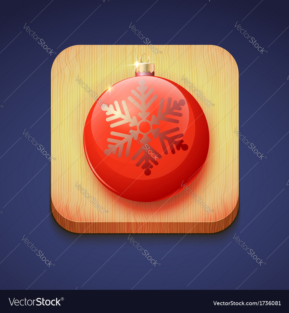 Red christmas ball on a wooden stand icon ios vector | Price: 1 Credit (USD $1)