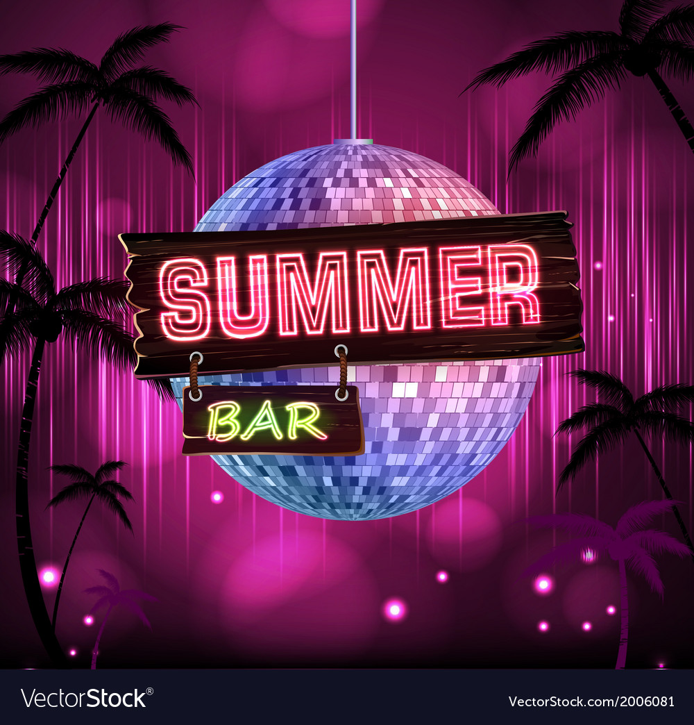 Summer disco background disco poster vector | Price: 1 Credit (USD $1)
