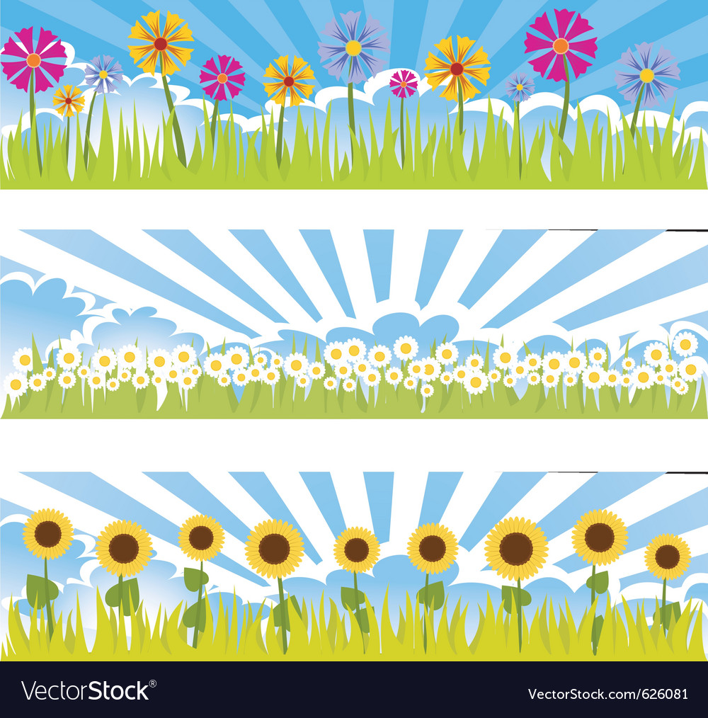 Three floral banners vector | Price: 1 Credit (USD $1)