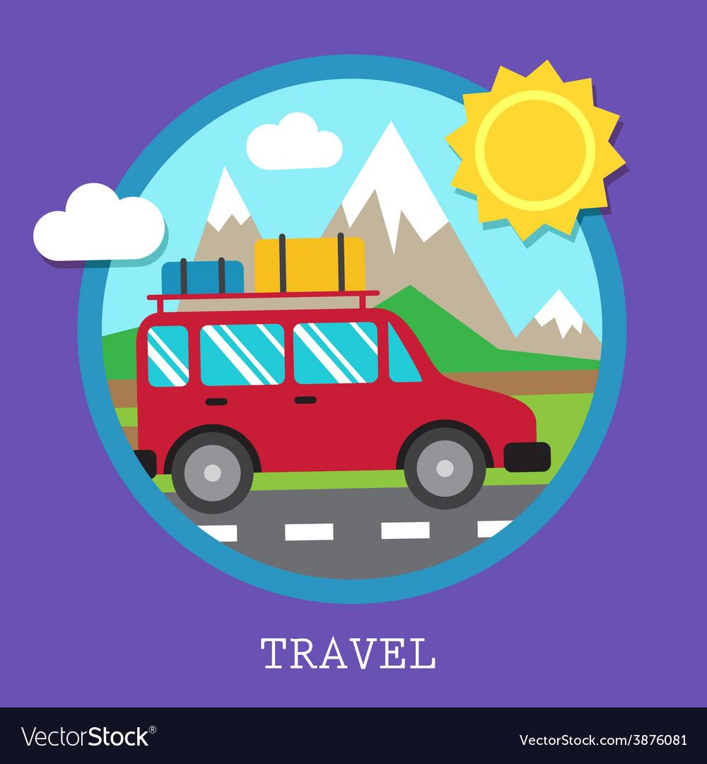 Travel car vector   Price: 1 Credit (USD $1)
