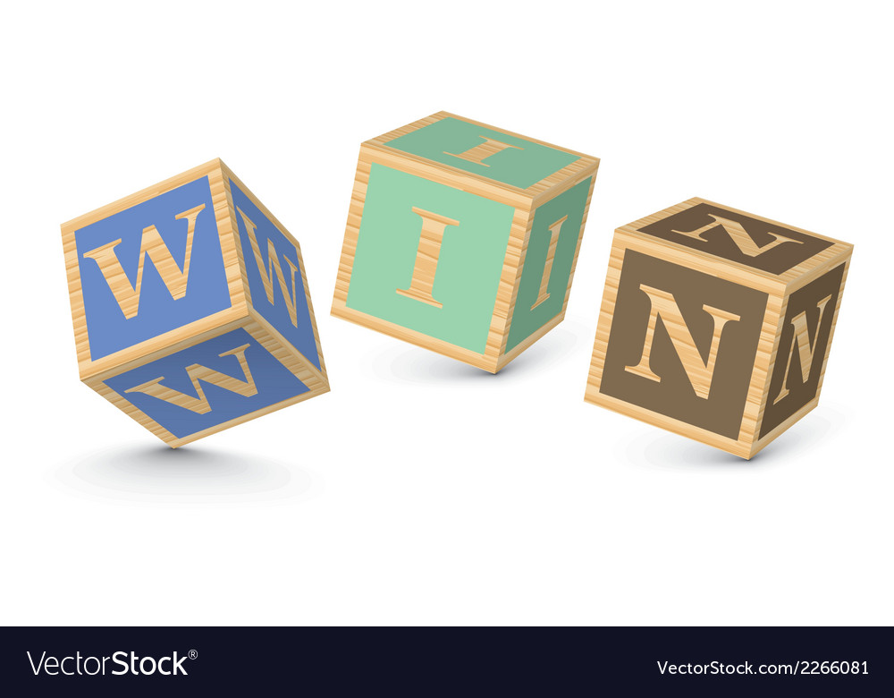 Word win written with alphabet blocks vector | Price: 1 Credit (USD $1)