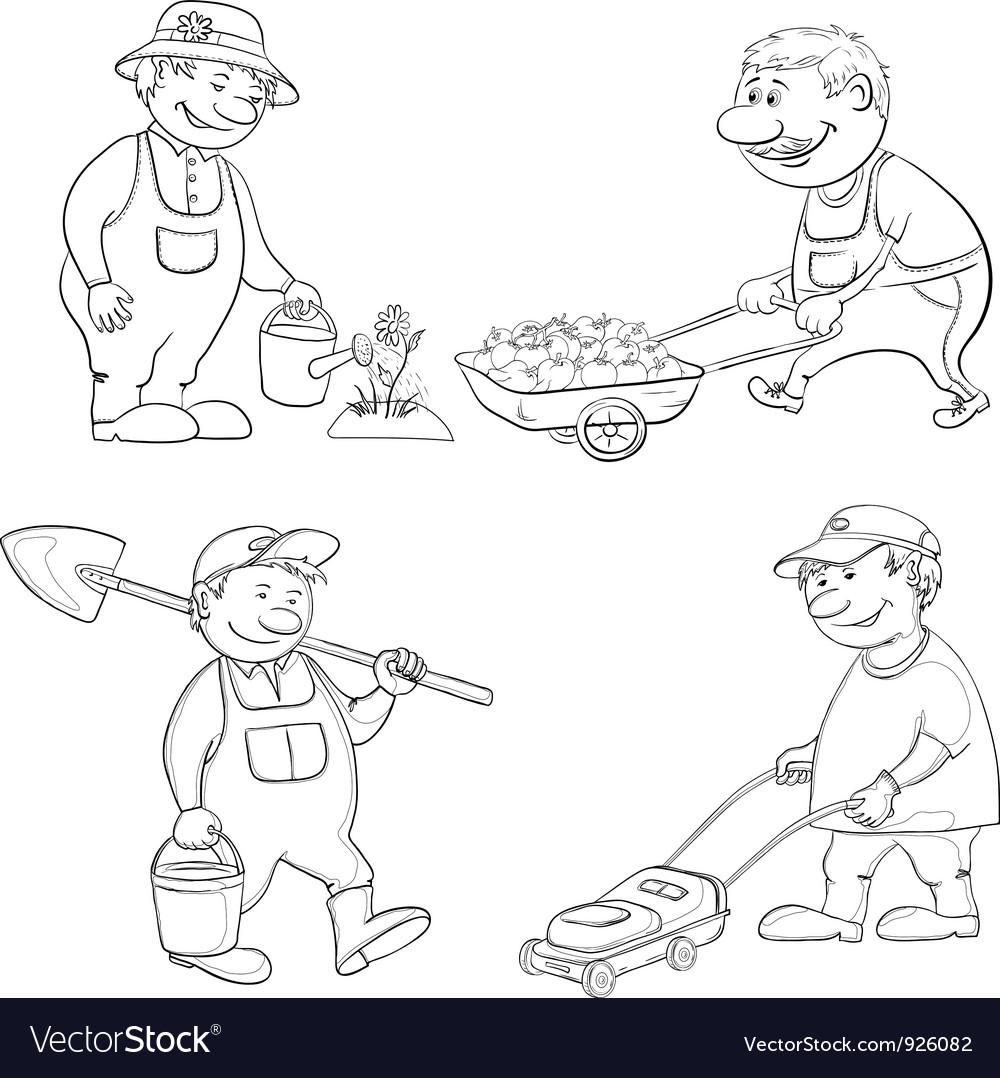 Cartoon gardeners work outline vector | Price: 1 Credit (USD $1)