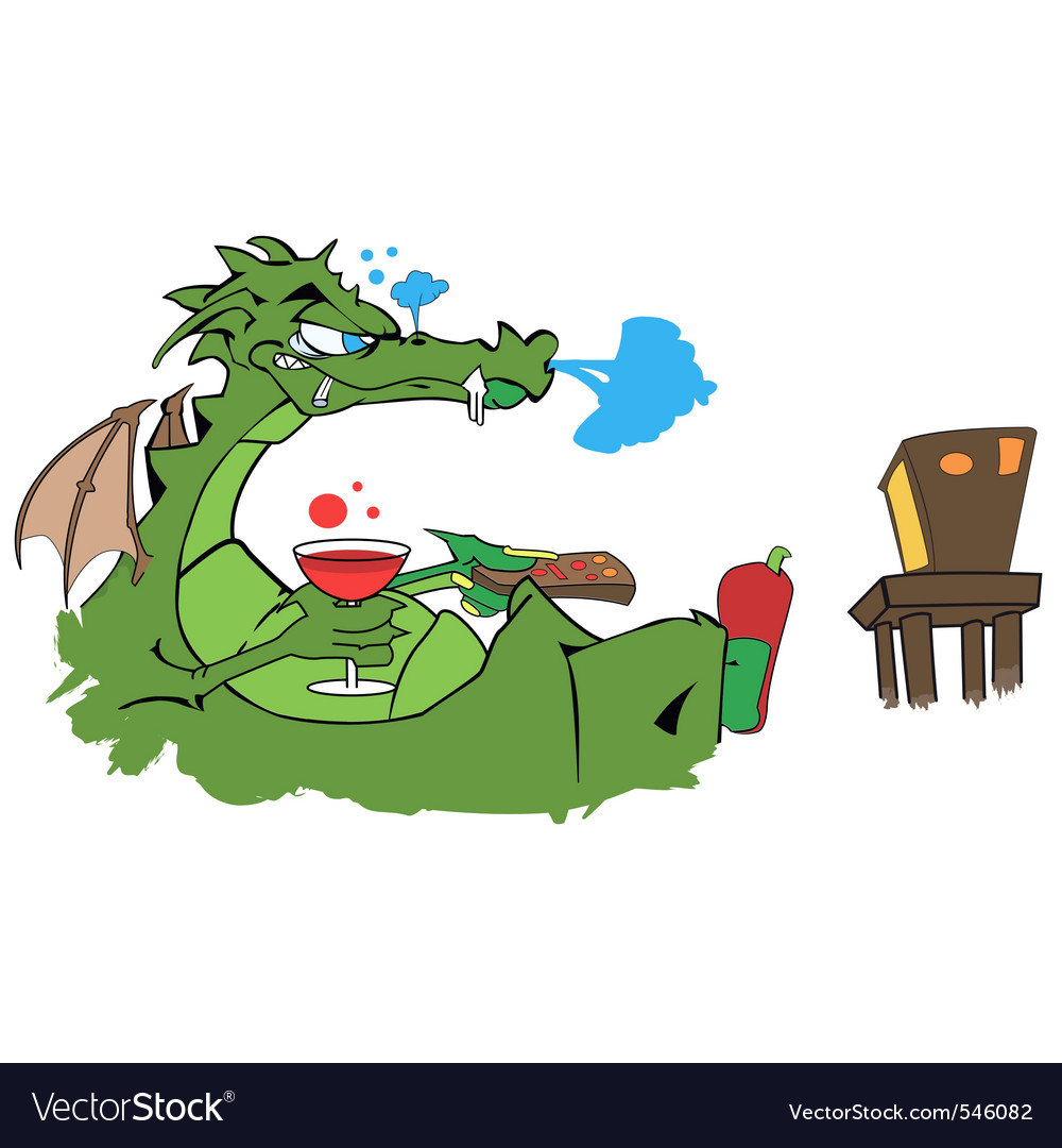 Drawing of a dragon watching tv with a glass of wi vector | Price: 1 Credit (USD $1)