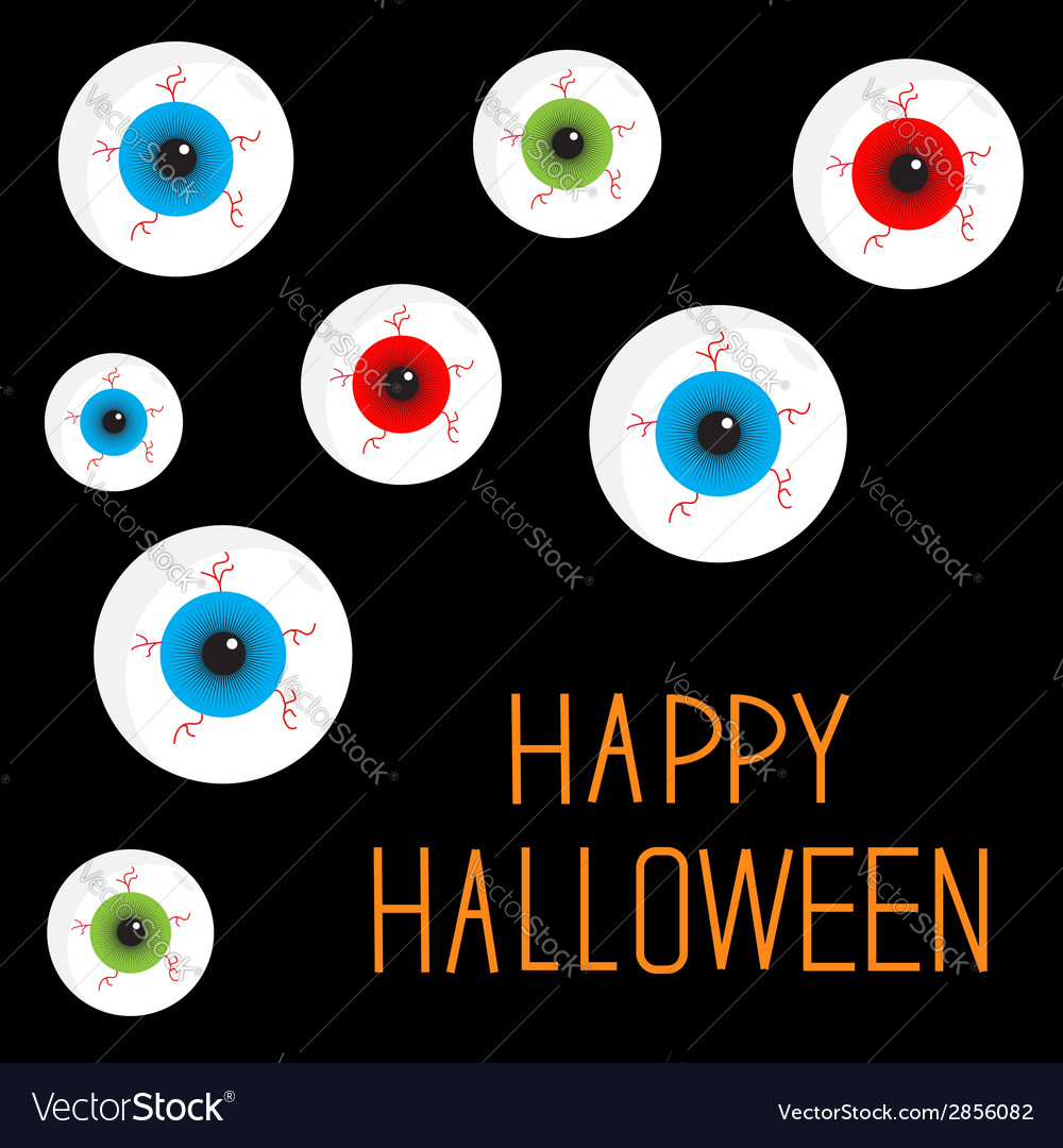 Eyeball set with bloody streaks black background vector | Price: 1 Credit (USD $1)